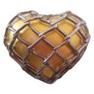 Vintage Erwin Pearl Signed Lattice Heart Brooch